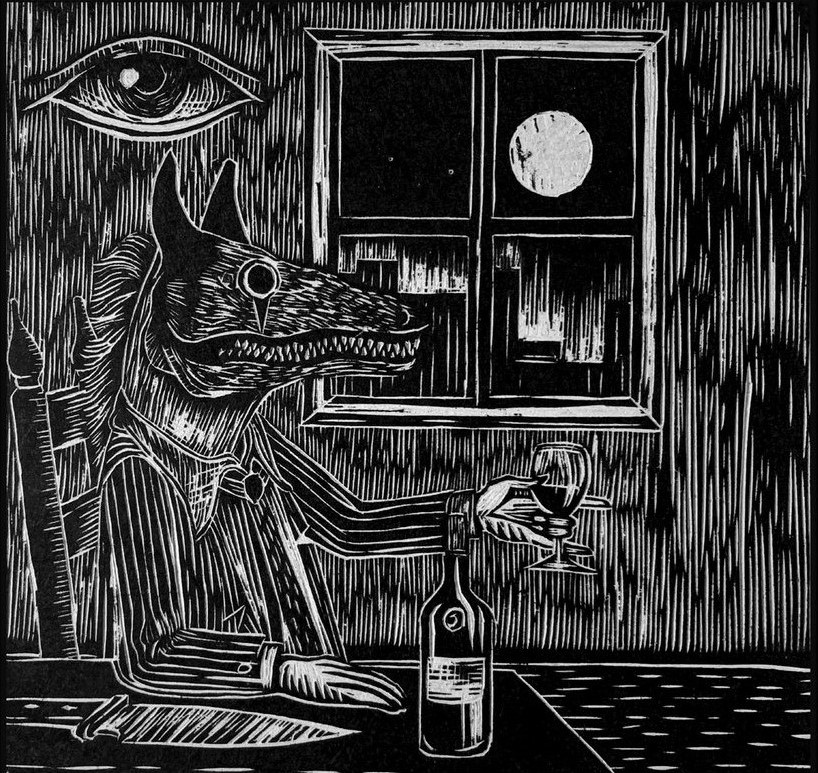 shrodinger album cover wolf eye moon wine art